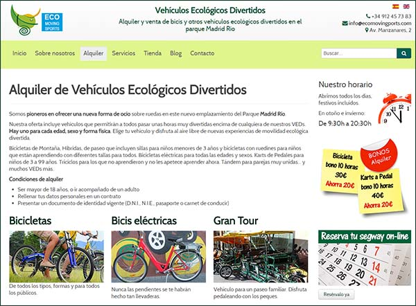 Eco Moving Sports. Venta y alquiler de bicis, karts, ...